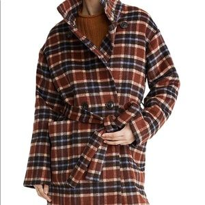 Madewell Plaid Long Belted Coat NEW